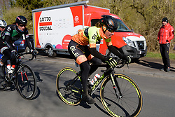 Onto the final lap for Janneke Ensing at Le Samyn des Dames 2018 - a 103 km road race on February 27, 2018, from Quaregnon to Dour, Belgium. (Photo by Sean Robinson/Velofocus.com)