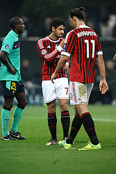 23.11.2011, Giuseppe Meazza Stadion, Mailand, ITA, UEFA CL, Gruppe H, AC Mailand (ITA) vs FC Barcelona (ESP), im Bild Alexandre PATO e Zlatan IBRAHIMOVIC Milan, delusione // during the football match of UEFA Champions league, group H, between Gruppe H, AC Mailand (ITA) and FC Barcelona (ESP) at Giuseppe Meazza Stadium, Milan, Italy on 2011/11/23. EXPA Pictures © 2011, PhotoCredit: EXPA/ Insidefoto/ Andrea Staccioli..***** ATTENTION - for AUT, SLO, CRO, SRB, SUI and SWE only *****