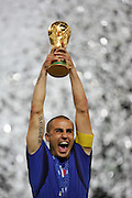 FIFA World Cup 2006 Final : Fabio Cannavaro of Italy holds the FIFA World Cup Trophy after defeating France on penalties