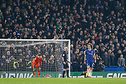 CORRECTION Chelsea defender David Luiz (30) walks back to take his penalty during the EFL Cup semi final second leg match between Chelsea and Tottenham Hotspur at Stamford Bridge, London, England on 24 January 2019.