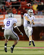 November 21, 2009: Quarterback Grant Gregory #6 of the Kansas State Wildcats throws the ball down field to running back Daniel Thomas #8 against the Nebraska Cornhuskers in the fourth quarter at Memorial Stadium in Lincoln, Nebraska.