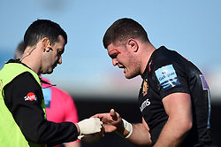 Dave Ewers of Exeter Chiefs is treated for an injury - Mandatory byline: Patrick Khachfe/JMP - 07966 386802 - 24/03/2019 - RUGBY UNION - Sandy Park - Exeter, England - Exeter Chiefs v Bath Rugby - Gallagher Premiership Rugby