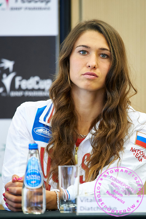 Vitalia Diatchenko from Russia speaks during official draw one day before the Fed Cup / World Group 1st round tennis match between Poland and Russia at Holiday Inn on February 6, 2015 in Cracow, Poland.<br /> <br /> Poland, Cracow, February 6, 2015<br /> <br /> Picture also available in RAW (NEF) or TIFF format on special request.<br /> <br /> For editorial use only. Any commercial or promotional use requires permission.<br /> <br /> Adam Nurkiewicz declares that he has no rights to the image of people at the photographs of his authorship.<br /> <br /> Mandatory credit:<br /> Photo by &copy; Adam Nurkiewicz / Mediasport