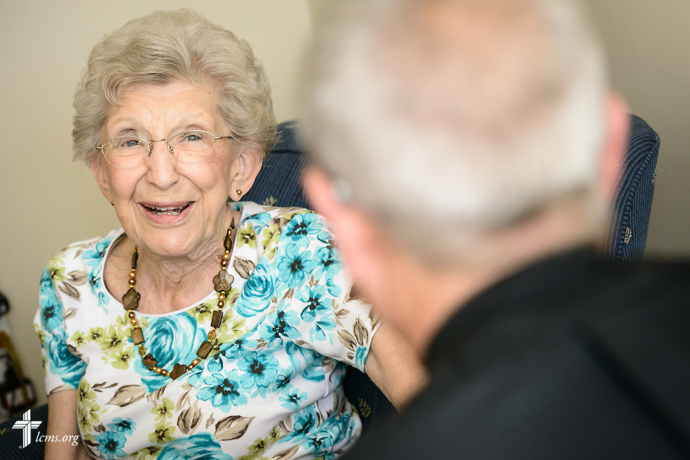 Lois Bengtson talks with the Rev. Wally Arp, senior pastor at St. Luke's Lutheran Church, during a pastoral visitation to her home at Lutheran Haven on Monday, March 7, 2016, in Oviedo, Fla. LCMS Communications/Erik M. Lunsford
