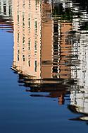 Abstract building reflection on Ljubljanica River, Ljubljana, Slovenia