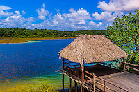 A remote Mayan village on a lake near Coba, near Riviera Maya, Mexico