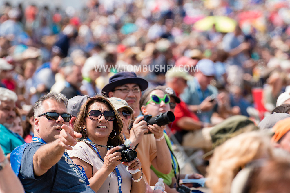 New Windsor, New York - People enjoy the first day of the New York Air Show at Stewart International Airport on Aug. 29, 2015.