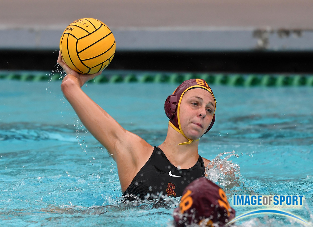 Southern California Trojans driver Denise Mammolito (8) against the Wagner Seahawks during an NCAA college women's water polo quarterfinal game in Los Angeles, Friday, May 11, 2018. USC defeated Wagner 12-5.  (Kirby Lee via AP)