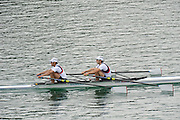 Munich, GERMANY.   GBR LM2X. Bow.  Zac PURCHASE and Mark HUNTER, during their afternoon semi final of the men's pairs. 2010 FISA World Cup. Olympic Rowing Course, Munich.  Saturday  19/06/2010   [Mandatory Credit Peter Spurrier/ Intersport Images]