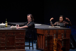 11.04.2019, Große Universitätsaula, Salzburg, AUT, Salzburger Osterfestspiele, Fotoprobe, Kammeroper Therese (Oper von Emile Zola), im Bild Otto Katzameier als Laurent und Marisol Montalvo als Therese // during the rehearsal of the Chamber opera Therese (opera by Emile Zola). The Salzburg Easter Festival takes place from 13 April to 23 April 2019, at the Große Universitätsaula in Salzburg, Austria on 2019/04/11. EXPA Pictures © 2019, PhotoCredit: EXPA/ Ernst Wukits