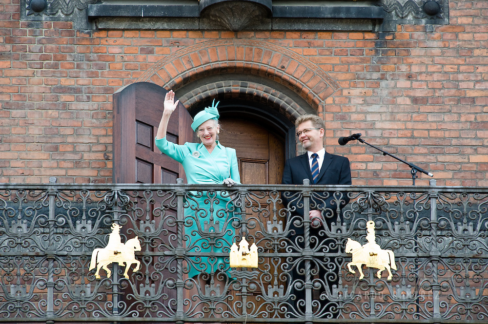 16.04.2015. Copenhagen, Denmark.<br /> Queen Margrethe II of Denmark with the Mayor of Copenhagen from the Town Hall balcony after lunch during festivities for her 75th birthday.<br /> Photo:© Ricardo Ramirez