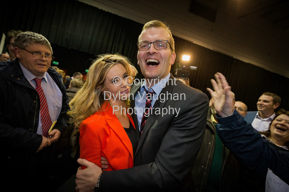 27-2-16<br /> Fine Gael's John Paul Phelan pictured with Claire McTernan as he is elected at the count centre in Cillin Hill Kilkenny for the Carlow Kilkenny Constituency.<br /> <br /> Picture Dylan Vaughan