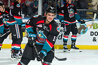 KELOWNA, CANADA - OCTOBER 5:  Erik Gardiner #11 of the Kelowna Rockets warms up against the Victoria Royals on October 5, 2018 at Prospera Place in Kelowna, British Columbia, Canada.  (Photo by Marissa Baecker/Shoot the Breeze)  *** Local Caption ***
