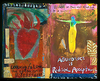 Artist's journal collage painting with heart on fire and arms wide open.
