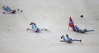 Kombinert<br /> OL Sochi 2014<br /> 20.02.2014<br /> Foto: imago/Digitalsport<br /> NORWAY ONLY<br /> <br /> Members of team Norway dive as they celebrate winning the gold medal of the Nordic Combined team Gundersen event at the 2014 Sochi Winter Olympic Games in Sochi, Russia, Feb. 20, 2014.<br /> Magnus Moan - Magnus Krog - Jørgen Gråbak - Håvard Klemetsen