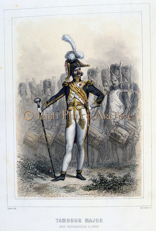 Drum Major of the Foot Grenadiers.  From 'Napoleon 1er et la Garde Imperiale' by Eugene Fieffe, Paris, 1858.