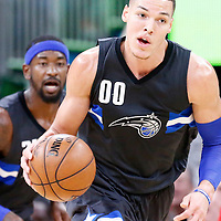 25 February 2017: Orlando Magic forward Aaron Gordon (00) brings the ball up court during the Orlando Magic 105-86 victory over the Atlanta Hawks, at the Amway Center, Orlando, Florida, USA.