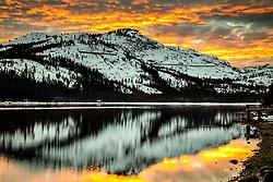 """Donner Lake Sunset 47"" - Photograph of a vibrant sunset above Donner Summit, shot along the shoreline of Donner Lake."