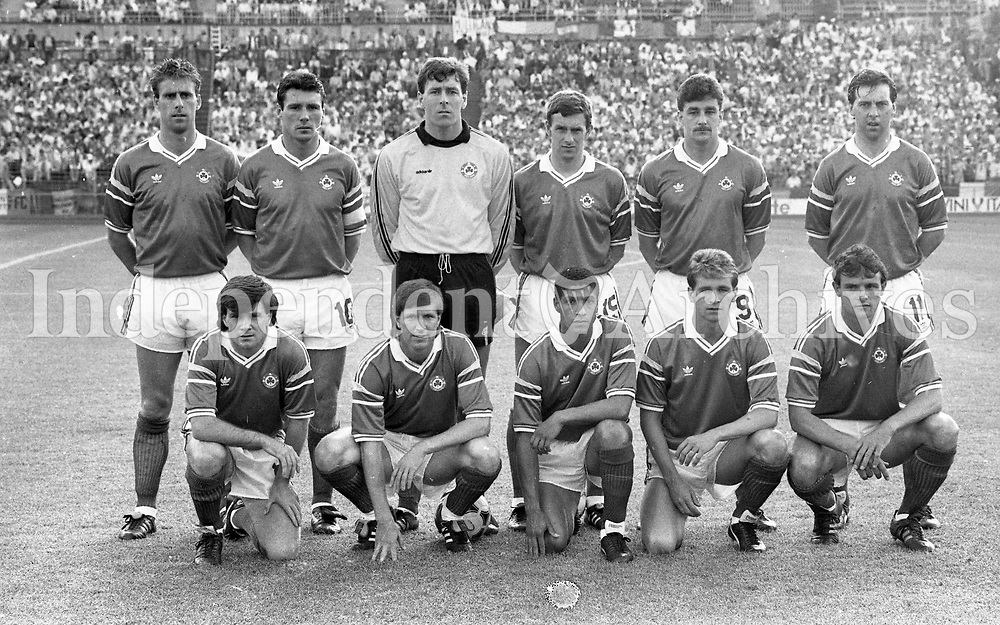 Republic of Ireland v England game in the European Championship Finals at Stuttgart. Photographer Jim O'Kelly. 12 June 1988 (Part of the Independent Newspapers Ireland/NLI Collection).
