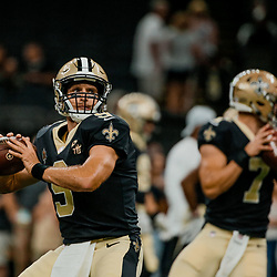 Aug 17, 2018; New Orleans, LA, USA; New Orleans Saints quarterback Drew Brees (9) and quarterback Taysom Hill (7) prior to a preseason game against the Arizona Cardinals at the Mercedes-Benz Superdome. Mandatory Credit: Derick E. Hingle-USA TODAY Sports