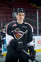 KELOWNA, CANADA - FEBRUARY 7: Tyler Popowich #13 of the Vancouver Giants warms up against the Kelowna Rockets  on February 7, 2018 at Prospera Place in Kelowna, British Columbia, Canada.  (Photo by Marissa Baecker/Shoot the Breeze)  *** Local Caption ***