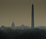 Capitol Building and Washington Monument on a foggy day, Washington, DC