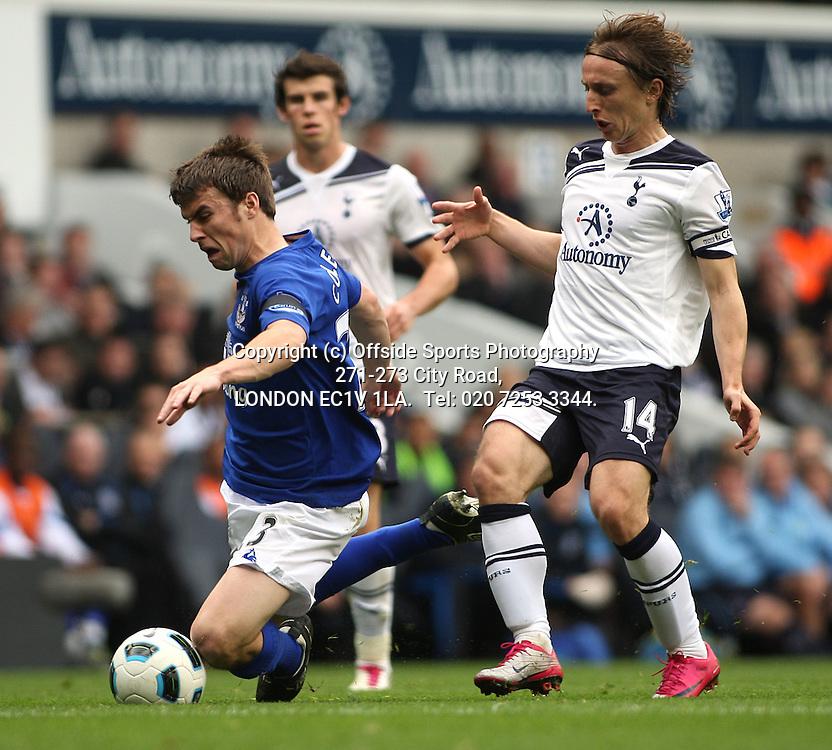 23/10/2010 Premier League football. Tottenham Hotspur v Everton.<br /> Seamus Coleman is fouled by Luka Modric.<br /> Photo: Mark Leech.