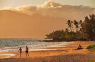 People enjoying Kamole Beach at sunset, Kihei, Maui, Hawaii