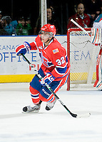 KELOWNA, CANADA, JANUARY 4: Todd Fiddler #32 of the Spokane Chiefs skates on the ice as the Spokane Chiefs visit the Kelowna Rockets on January 4, 2012 at Prospera Place in Kelowna, British Columbia, Canada (Photo by Marissa Baecker/Getty Images) *** Local Caption ***