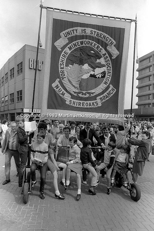 Shireoaks banner, 1983 Yorkshire Miner's Gala. Barnsley