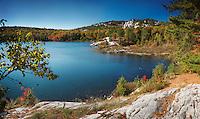 Beautiful fall nature scenery of lake Lumsden. Killarney Provincial Park, Ontario, Canada
