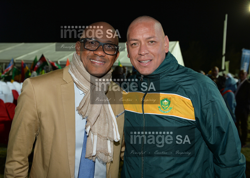 DURBAN, SOUTH AFRICA - JUNE 21: Frank Fredericks (former sprinter from Namibia and now IAAF Council member) with Paul Gorries (Team South Africa Sprint coach) during the CAA 20th African Senior Championships Opening Ceremony at Growth Point Kings Park stadium on June 21, 2016 in Durban, South Africa. (Photo by Roger Sedres/Gallo Images)