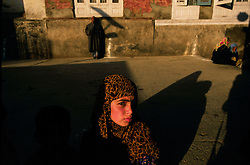 A Kashmiri  child visits a Sufi shrine in Srinagar, the Indian held summer capital of the state of Jammu and Kashmir.   Sufiism is a gentle brand of Islam that is mystical and considered by some to be a blend of Hinduism, Buddhism and Islam.  It has been gradually pushed aside my more fundamentalist forms of Islam orignating in Pakistan.