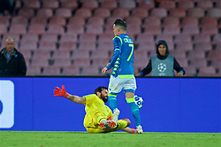 NAPLES, ITALY - Wednesday, October 3, 2018: Liverpool's goalkeeper Alisson Becker makes a save from Napoli's José Callejón during the UEFA Champions League Group C match between S.S.C. Napoli and Liverpool FC at Stadio San Paolo. (Pic by David Rawcliffe/Propaganda)