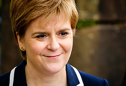 Moffat, Scotland 19th May 2017:  Scotland's First Minister, Nicola Sturgeon joins Mairi McCallan, SNP candidate for Dumfriesshire, Clydesdale and Tweeddale (DCT) on the campaign trail in Moffat.<br /> <br /> (c) Andrew Wilson | Edinburgh Elite media