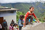 The children leave school at lunchtime the Alternate Learning Hub, Subhai, Himalayas, India. The school is organized and funded by the Pragya charity.  Pragya is a non-profit organization providing education and information services in high altitude areas in the Himalayas.