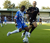 Photo: Olly Greenwood.<br />Colchester United v West Bromwich Albion. Coca Cola Championship. 20/10/2007. West Brom's Martin Albrechtsen and Colchester's Kevin Lisbie
