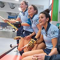 HAMBURG  (Ger) - Match 20,  for FINAL, LMHC Laren - Dinamo Elektrostal (Rus)  Photo: ) , Macey de Ruiter (Laren), Klaartje de Bruijn (Laren) , Lieke van Wijk (Laren)   Eurohockey Indoor Club Cup 2019 Women . WORLDSPORTPICS COPYRIGHT  KOEN SUYK