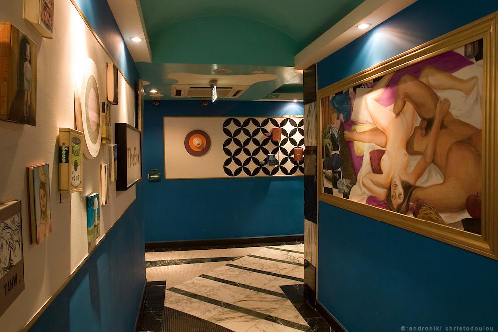 "P&A PLAZA ART HOTEL-SHIBUYA. Corridor. The Hotel is designed by the artist ""Tatsuya Osonoe""."