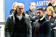 Manchester United manager Jose Mourinho chatting with Bristol City manager Lee Johnson in the tunnel before the EFL Cup match between Bristol City and Manchester United at Ashton Gate, Bristol, England on 20 December 2017. Photo by Graham Hunt.