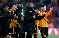 Wolverhampton Wanderers manager Nuno Espirito Santo (centre) celebrates after the final whistle during the Sky Bet Championship match at Riverside Stadium, Middlesbrough.