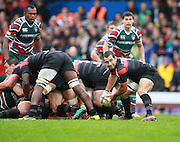 Jean- Marc Doussain releases the ball from the scrum during the Heineken Cup match between Stade Toulouse and Leicester Tigers at Stade Municipal on October 14, 2012 in Toulouse, France.  Eoin Mundow/Cleva Media