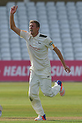 Jake Ball celebrates the wicket of Mason Crane during the Specsavers County Champ Div 1 match between Nottinghamshire County Cricket Club and Hampshire County Cricket Club at Trent Bridge, West Bridgford, United Kingdom on 13 August 2016. Photo by Simon Trafford.