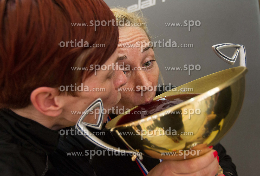 Sergeja Stefanisin and Kristina Bille Hansen of Krim celebrate after the last game of 1st A Slovenian Women Handball League season 2011/12 between ZRK Krka and RK Krim Mercator, on May 8, 2012 in Stopice at Novo mesto, Slovenia. RK Krim Mercator became Slovenian National Champion, GEN-I Zagorje placed second and ZRK Krka placed third. (Photo by Vid Ponikvar / Sportida.com)