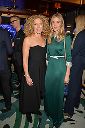 Left to right, KELLY HOPPEN and DONNA AIR at a dinner hosted by Creme de la Mer to celebrate the launch of Genaissance de la Mer The Serum Essence held at Sexy Fish, Berkeley Square, London on 21st January 2016.