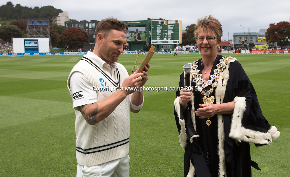 Brendon McCullum is presented the Key to the City by Wellington Mayor, Celia Wade-Brown.  First day, second test, ANZ Cricket Test series, New Zealand Black Caps v Sri Lanka, 03 January 2015, Basin Reserve, Wellington, New Zealand. Photo: John Cowpland / www.photosport.co.nz