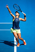 MELBOURNE, VIC - JANUARY 24: Angelique Kerber of Germany serves in her Quarterfinals match during the 2018 Australian Open on January 24, 2018, at Melbourne Park Tennis Centre in Melbourne, Australia. (Photo by Jason Heidrich/Icon Sportswire)MELBOURNE, VIC - JANUARY 24: