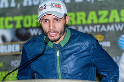 CARSON, California/USA (Thursday, Aug 22 2013) - Mexican pro boxer and former Two-Division World Champion Jhonny Gonzalez (54-8, 46 KO's), of Mexico City addresses the media during the last Mares vs Gonzalez press conference at The SubHub Center in Carson, CA.  PHOTO © Eduardo E. Silva/SILVEXPHOTO.COM.