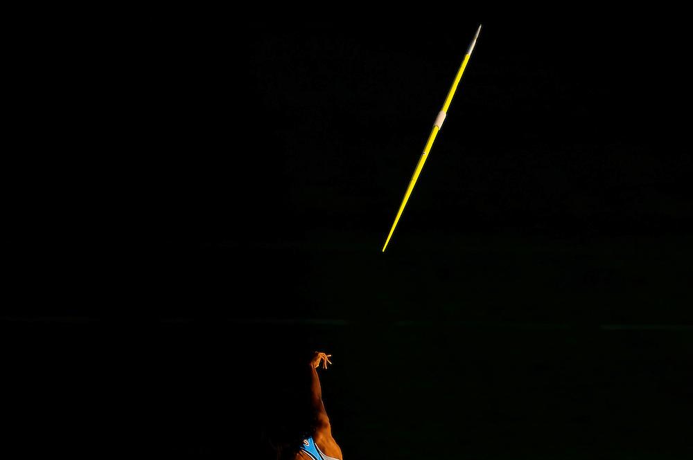 Erica Bougard de Estados Unidos compite en la prueba de lanzamiento de javalina del heptalon en el cuarto día de los 14º IAAF Mundiales Junior de Atletismo en el Estadio Olímpico Lluis Companys de Barcelona, España el 13 de Julio del 2012.