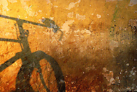 Shadow of a bicycle on a vividly patterned golden wall